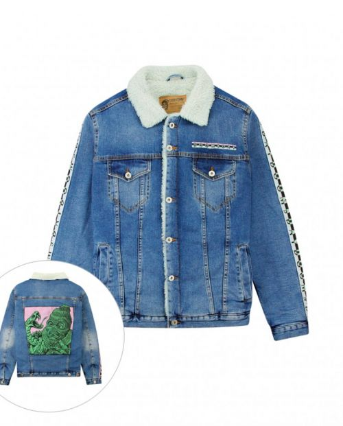 Doomsday Giacca Necklace Denim Jacket Stone Washed