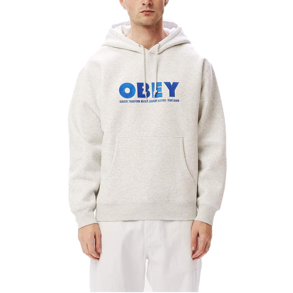 Obey Hubbs Pullover Hood Grey3