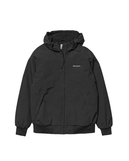 Hooded Sail Jacket Black White