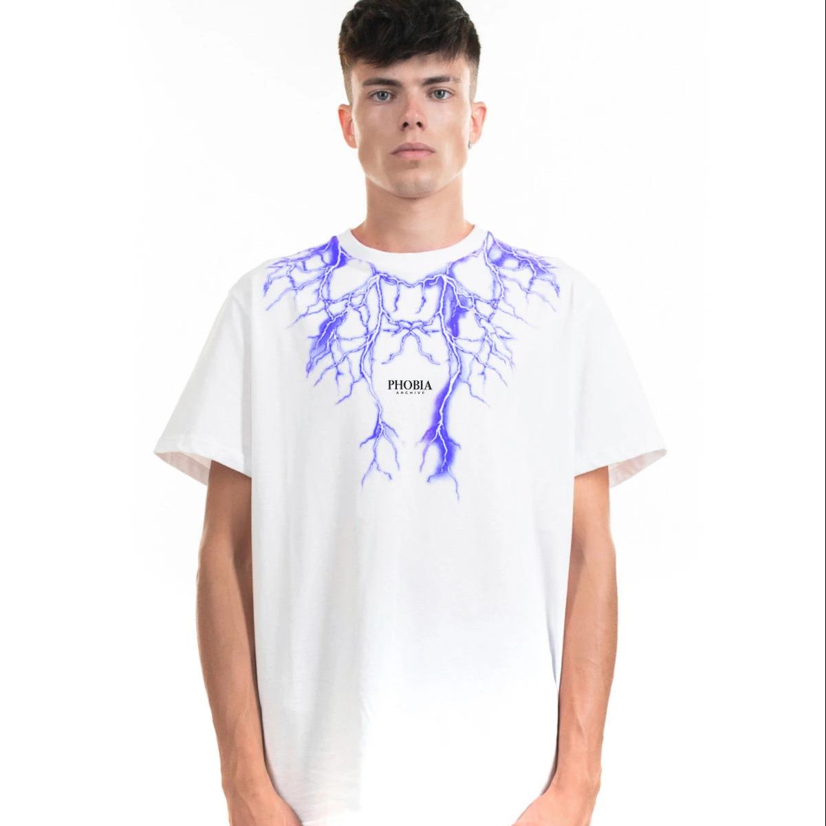 Phobia T-Shirt Bianca Fulmini Blu 1