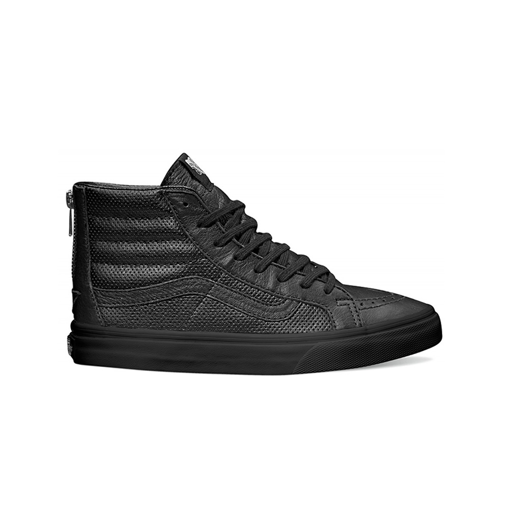 VANS Sk8 -HI Slim Zip (Perf Leather) - BLK/BLK