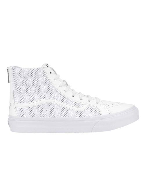 Scarpe Vans Sk8 HI Slim Zip Perf Leather True White