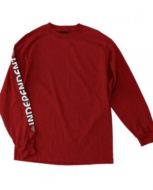 Independent T-Shirt Bar Cross L/S Cardinal Red