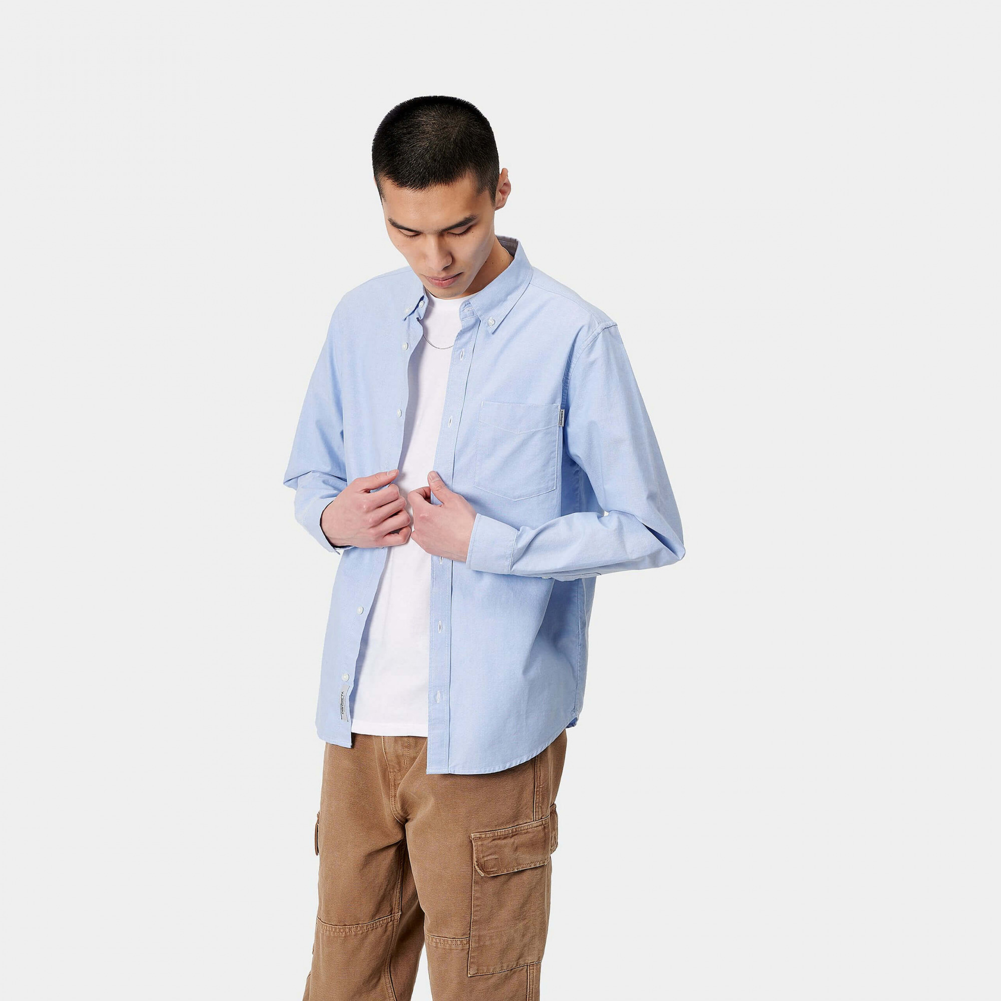 Carhartt Camicia Button Down Pocket BLEACH