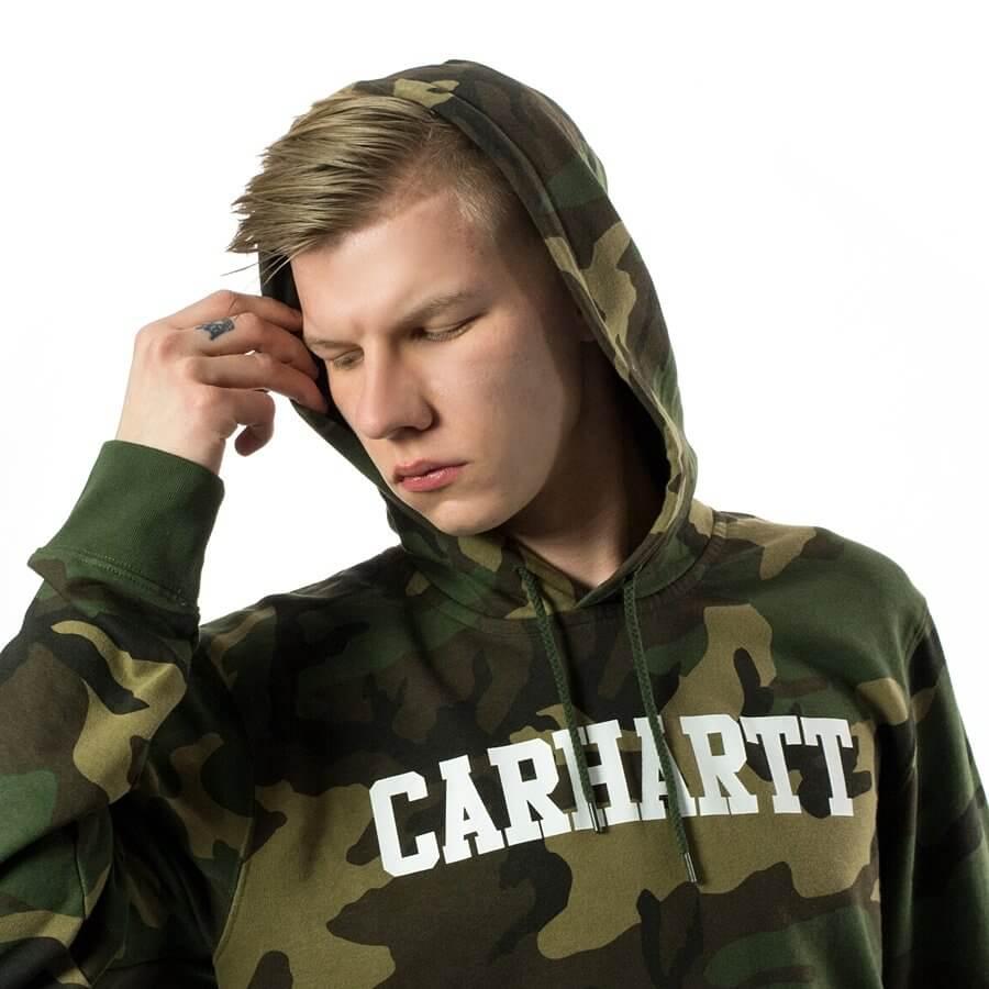 Carhartt Felpa Hooded College Sweat- CAMO LAUREL_ WHT