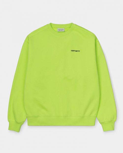 Carhartt Felpa Script Embroidery Sweat – Lime/ Black