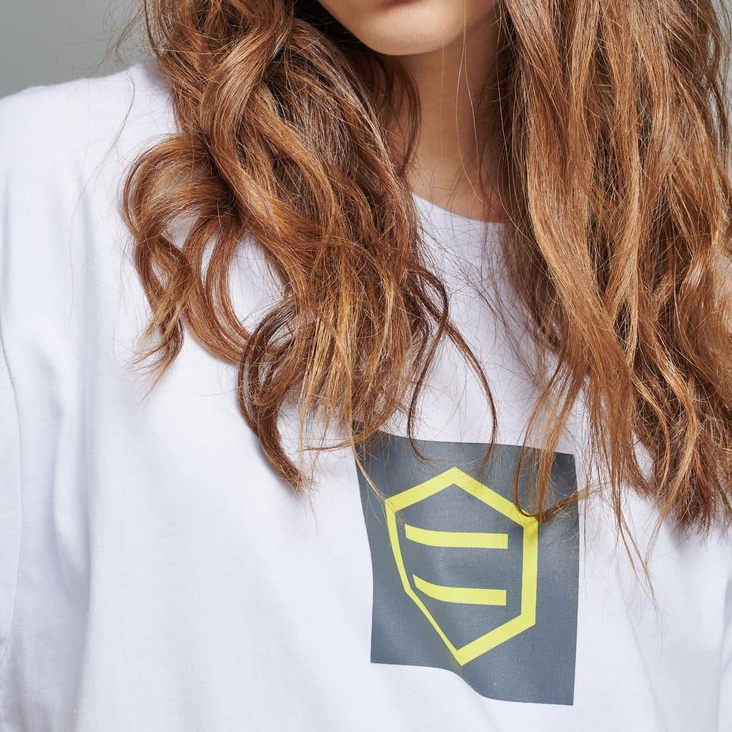 Dolly Noire T-Shirt Logo Stipe - WHT/GREY