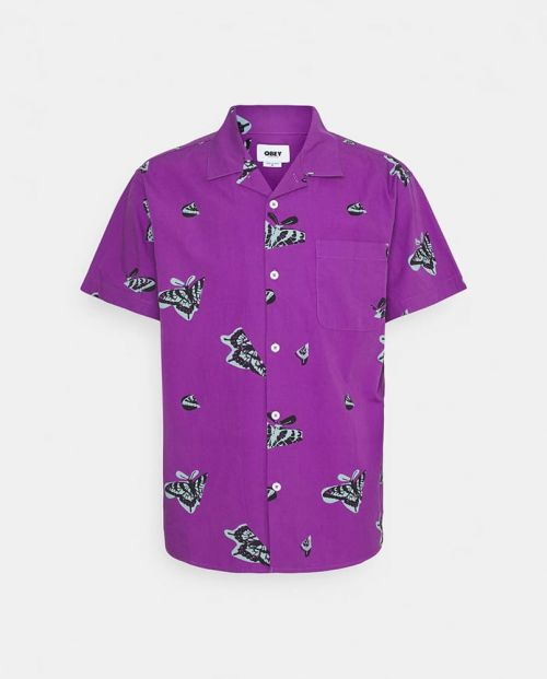 Obey T-Shirt Butterfly Woven Purple Multi 1