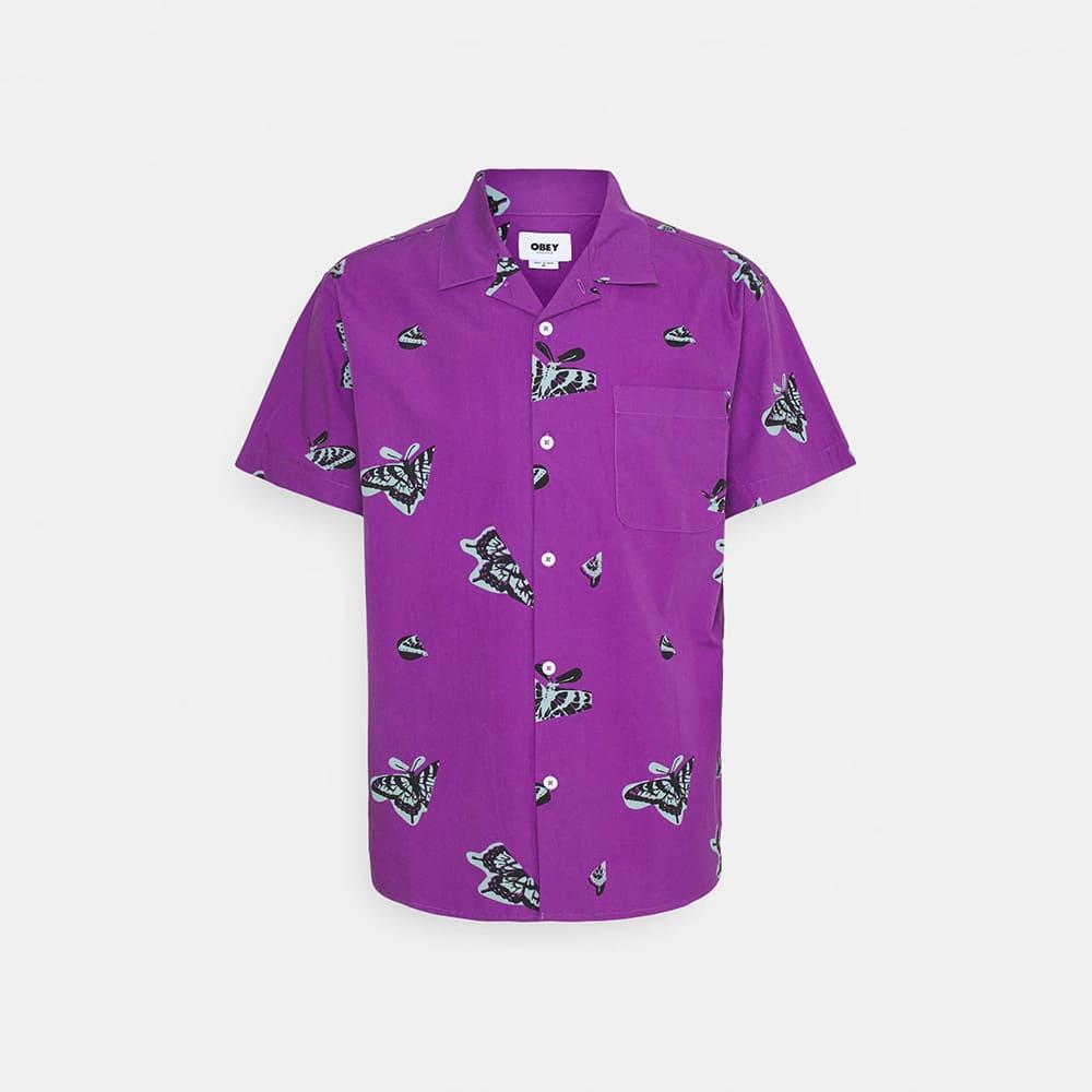Obey T-Shirt Butterfly Woven Purple Multi 1