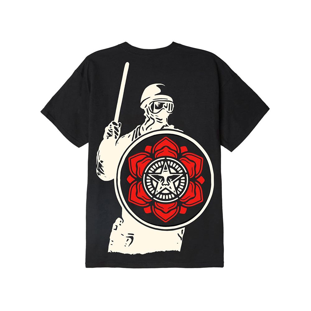 Obey T-Shirt Riot Cop Peace Shield Class Black