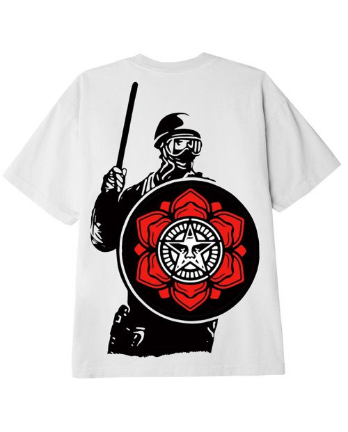 Obey T-Shirt Riot Cop Peace Shield Class White