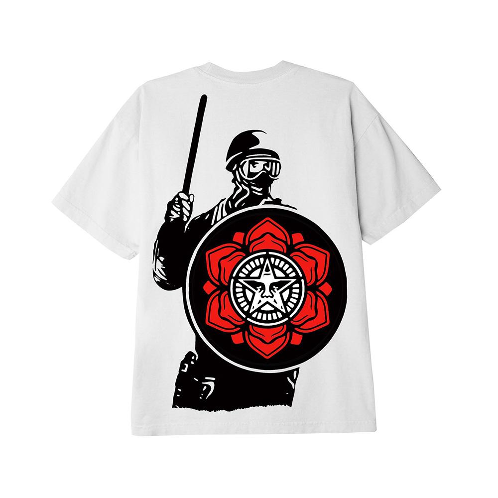 Obey T-Shirt Riot Cop Peace Shield Class White