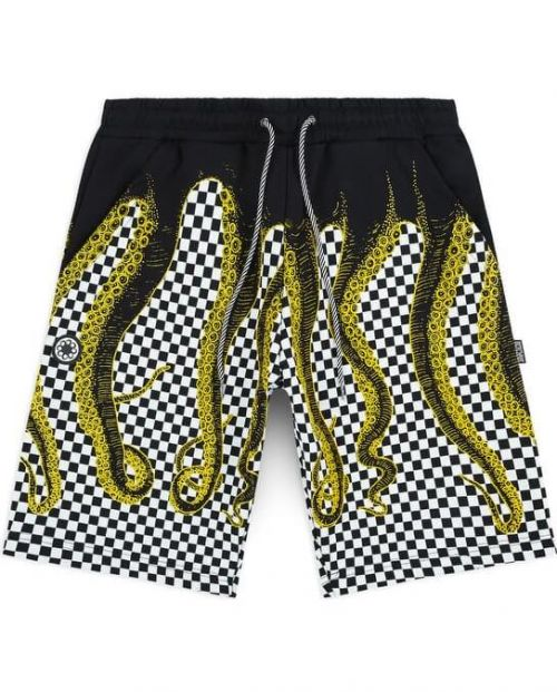 Octopus Pantaloni Checkered Sweatshorts YELLOW /BLK