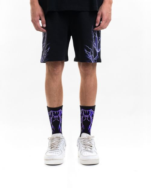 Phobia Pantaloni Corti Black Purple Lightning