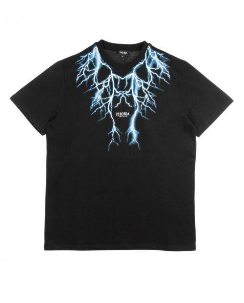 Phobia T-Shirt Black Light Blue Lightning