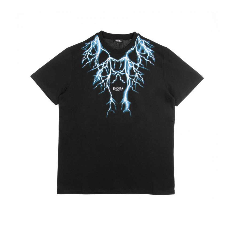 Phobia T-Shirt Black Light Blue Lightning