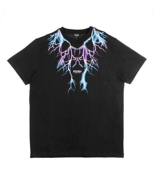 Phobia T-Shirt Black Pink Lightning