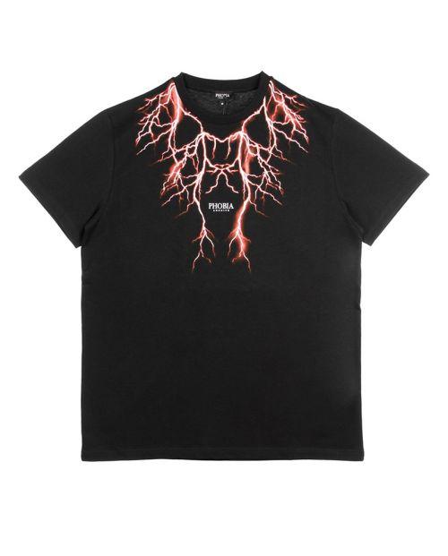 Phobia T-Shirt Black Red Lightning