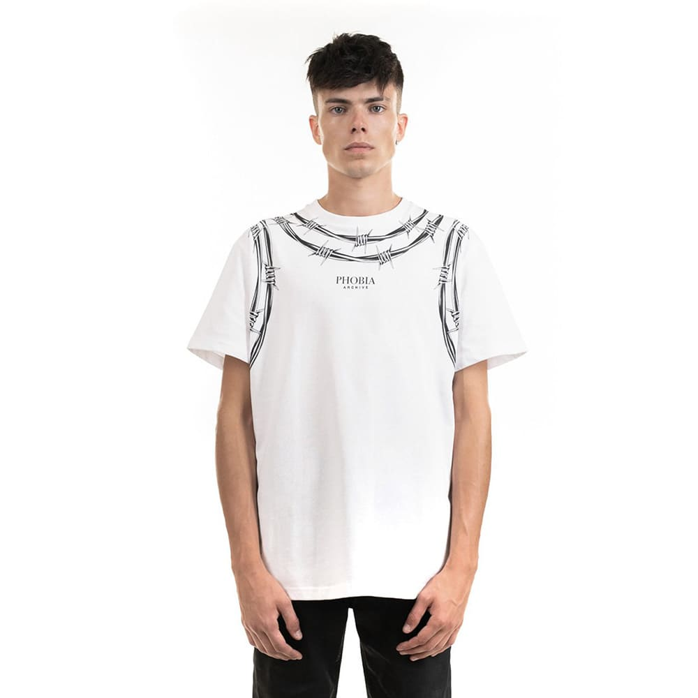 Phobia T-Shirt White Barbed Wire