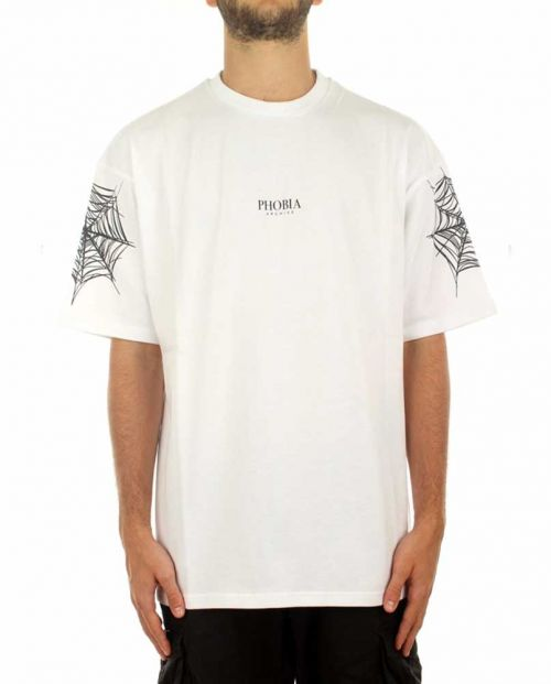 Phobia T-Shirt White Black Cobweb