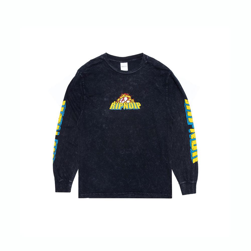 T-Shirt Ripndip Nermzilla LS black Mineral Wash