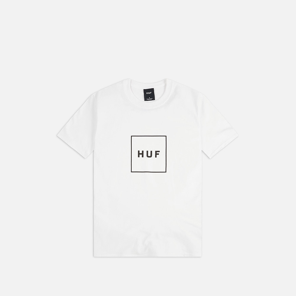 T-Shirt Huf Essential Box Logo Bianco