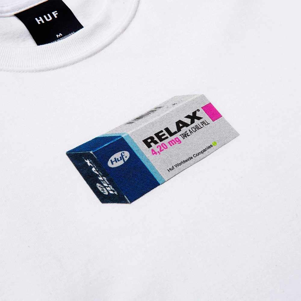 T Shirt Huf Relax Bianca Manica lunga 2