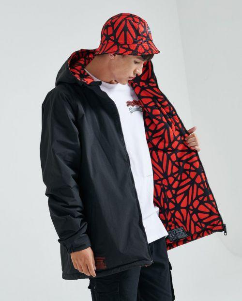 Bosco Pattern Jacket Hoodie Zip Black