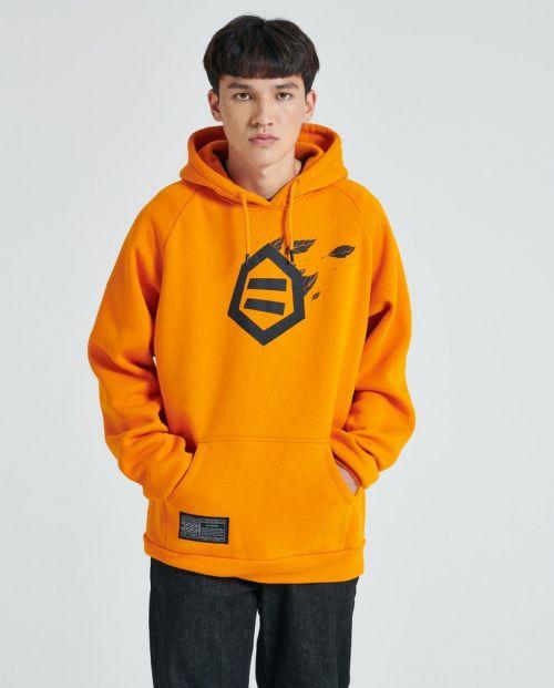 Logo Foglie Hoodie Orange