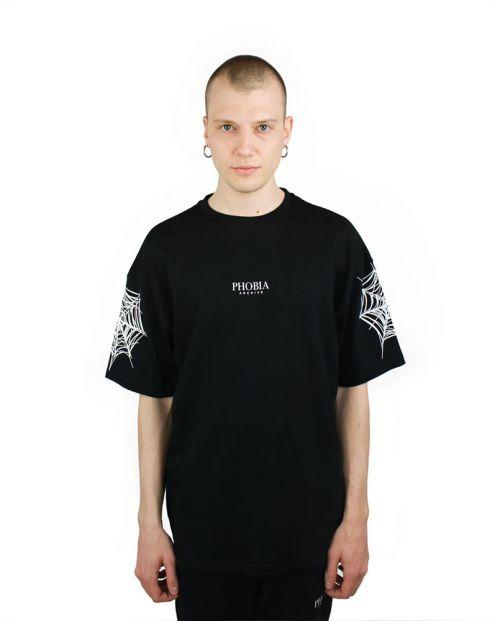 Phobia T-Shirt Black Cobweb White