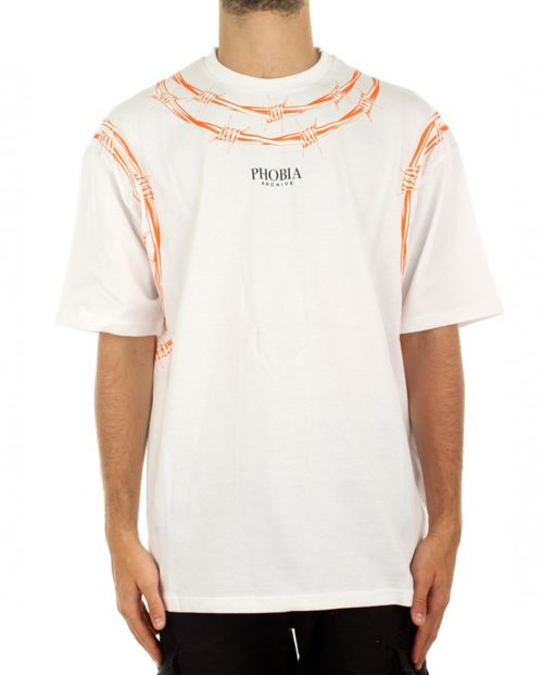 Phobia T-Shirt White Barbed Wire Orange