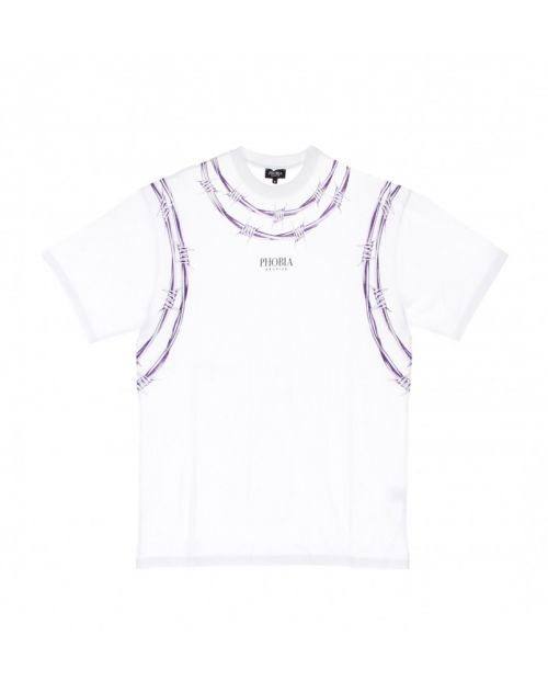 Phobia T-Shirt White Barbed Wire Purple
