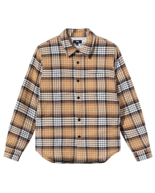 Quilted Lined Plaid Shirt Copper