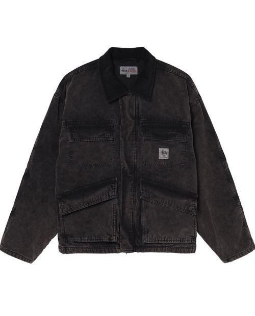 Washed canvas Shop Jacket Black