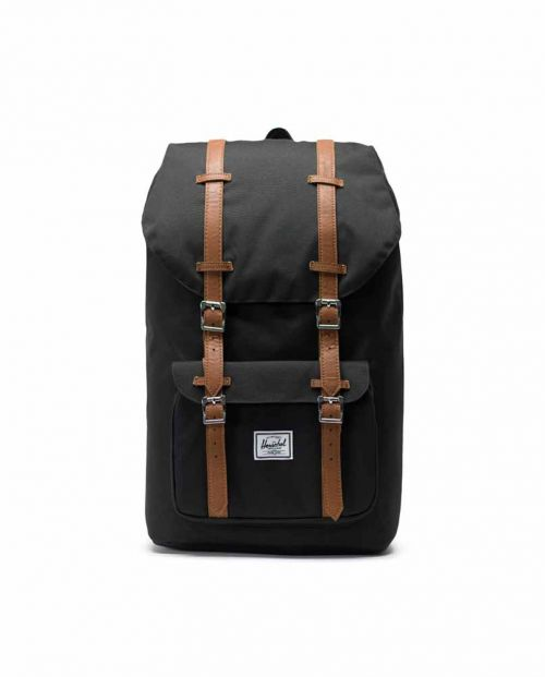Herschel Little America Backpack Black Tan Synthetic Leath